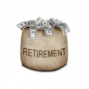 Bag with dollar bills and the words Retirement on bag